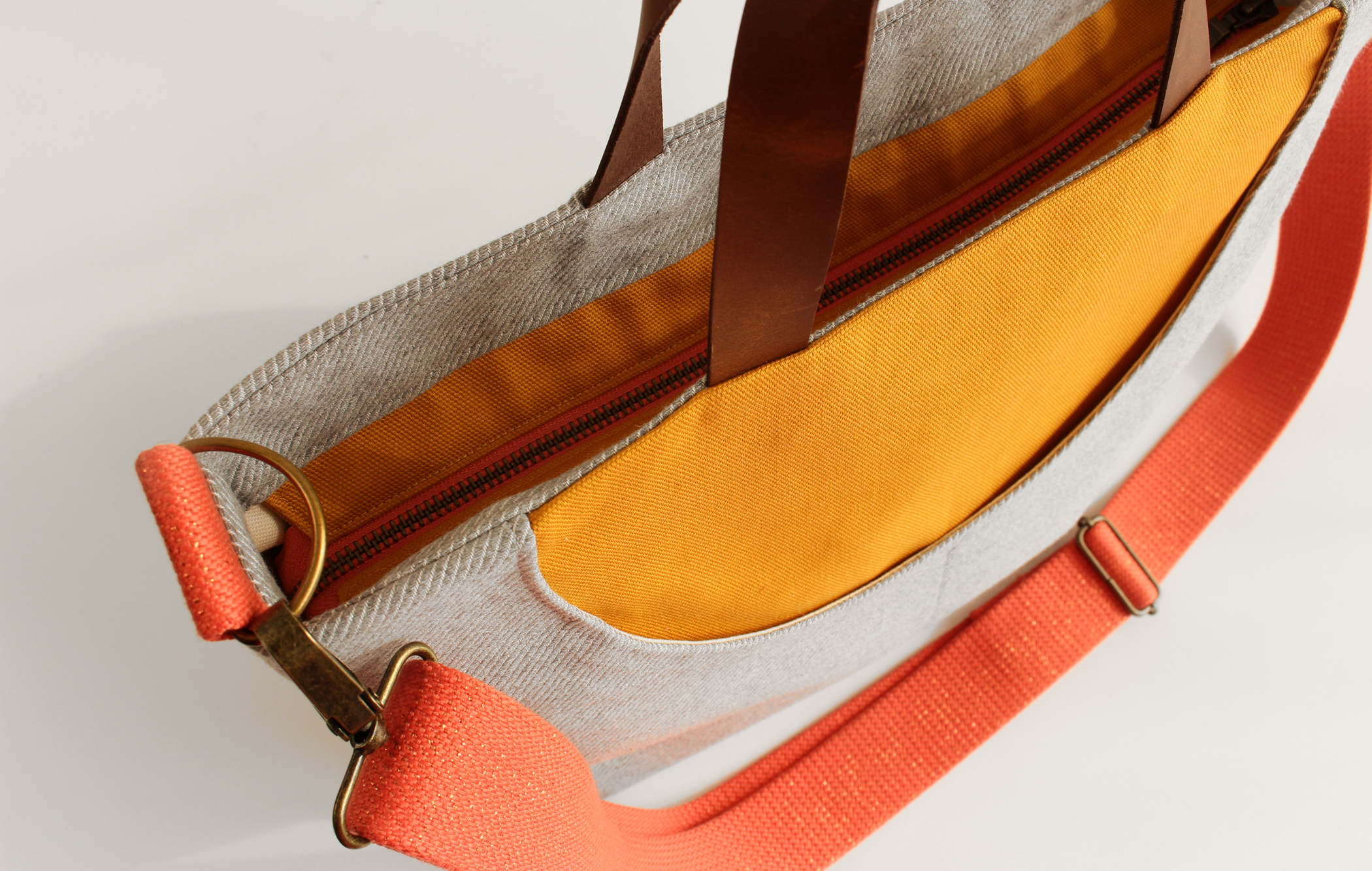 Close up of zip closure of yellow and grey MidnightSUN bag